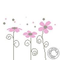 Grille gratuite - Fleurettes en rose et gris