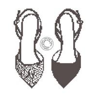 Grille de point de croix - chaussures en noir et blanc