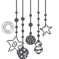 Grille gratuite point de croix - Etoiles et boules de Noël