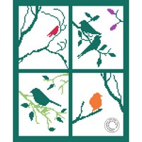 Grille gratuite - Oiseaux et fenêtre