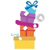 Grille gratuite - Pile de cadeaux colorés